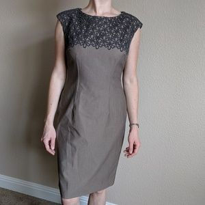 Jones New York Stretch Brown Grey Aline Dress